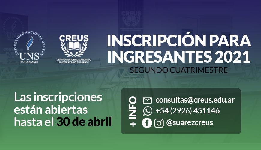 CREUS / UNS: inscripciones abiertas para ingresantes 2021